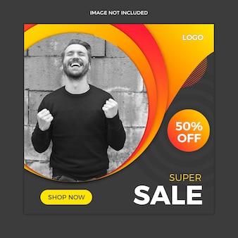 Modello nero della posta del instagram di media sociali di vendita
