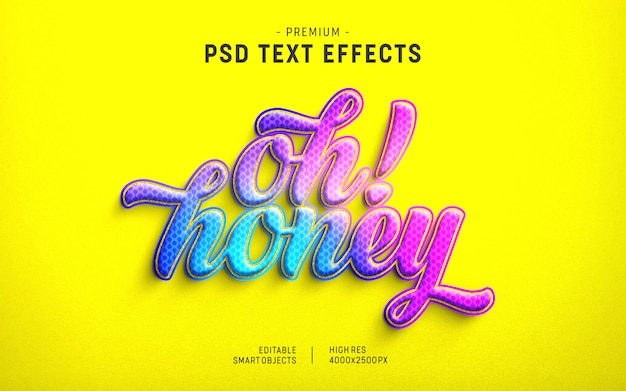 Modello oh honey valentine text effect
