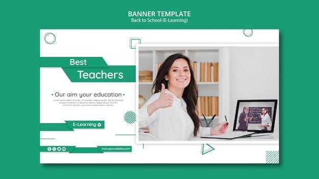 Modello orizzontale creativo dell'insegna di e-learning con la foto