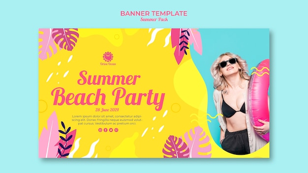Modello orizzontale dell'insegna del partito della spiaggia di estate