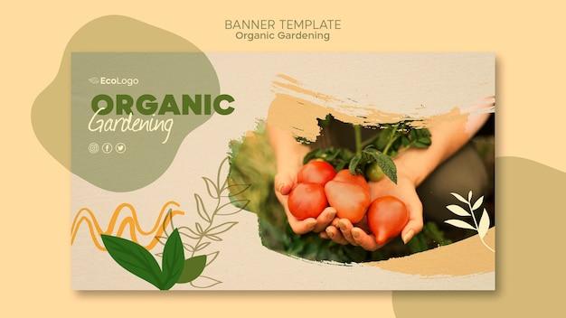 Modello orizzontale dell'insegna di giardinaggio organico con la foto