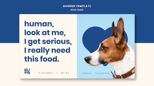 Modello per banner con il concetto di cibo per cani