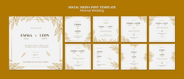 Modello post matrimonio social media