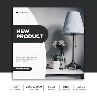 Modello post - social media instagram, decorazione di mobili nero nuovo