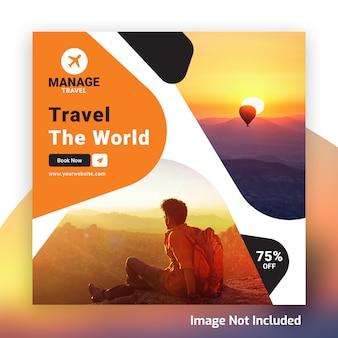 Modello psd dell'insegna del instagram di giro di viaggio