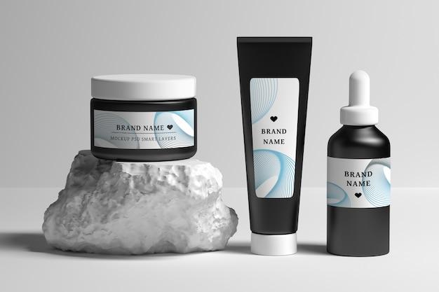 Modello psd di cancelleria modificabile con raccolta di prodotti per trattamenti di bellezza