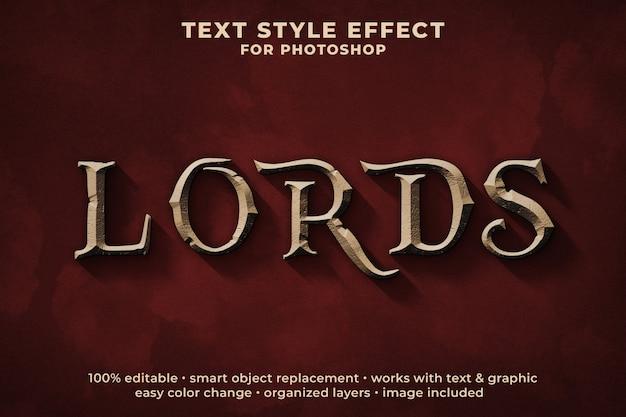 Modello psd effetto testo in stile medievale 3d di lords