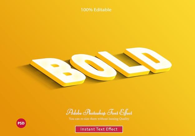 Modello psd giallo effetto testo in grassetto 3d