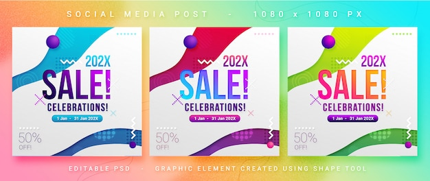 Modello psd post vendita / sconto social media post