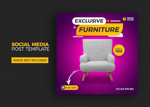 Modello quadrato con vendita di mobili per post di social media