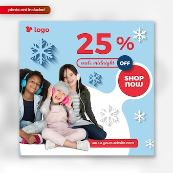 Modello quadrato dell'insegna di vendita di inverno di modo dei bambini