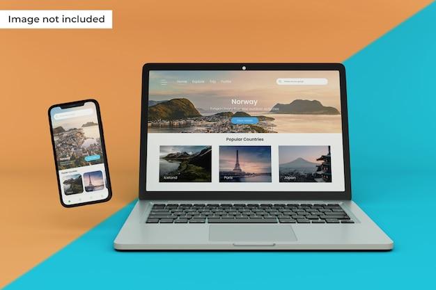 Modello realistico di dispositivo mobile e schermo del laptop