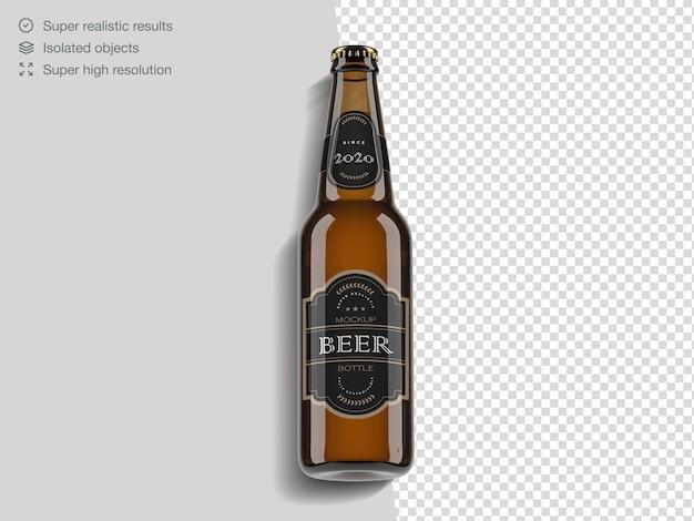 Modello realistico di mockup di bottiglia di birra vista dall'alto
