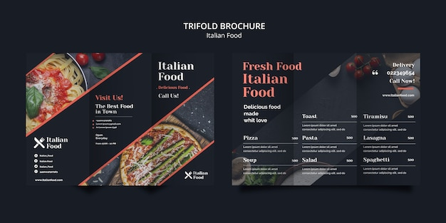 Modello ripiegabile dell'opuscolo di concetto italiano dell'alimento