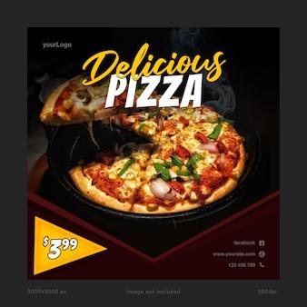 Modello sociale dell'insegna di media sociali deliziosi della pizza