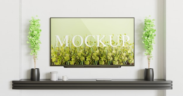 Modello tv montato sul muro bianco con scrivania nera