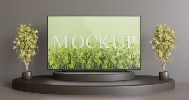 Modello tv sul podio nero