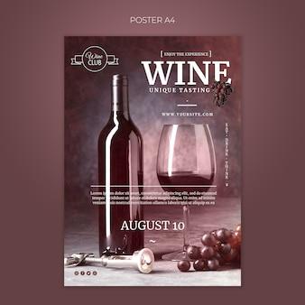 Modello unico di poster di degustazione di vini