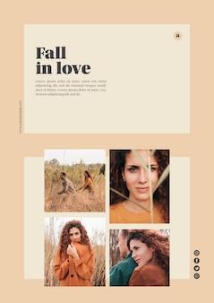 Modello web autunno con foto