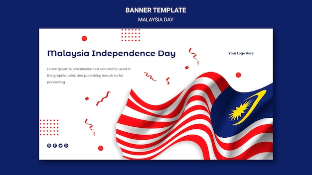 Modello web banner bandiera malese ondulato
