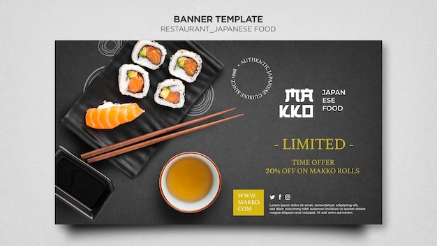 Modello web banner sushi e salsa