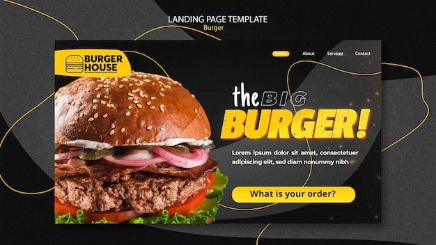 Modello web della pagina di destinazione dell'hamburger