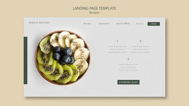Modello web della pagina di destinazione della ricetta del grano