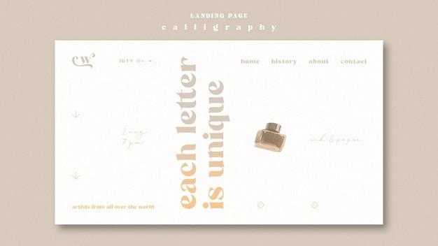 Modello web della pagina di destinazione di calligrafia