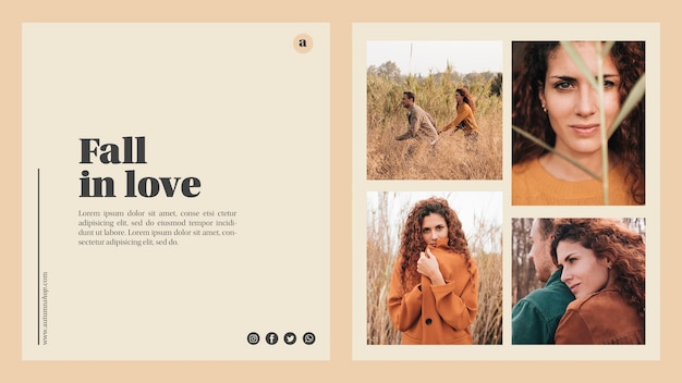 Modello web di autunno con belle foto