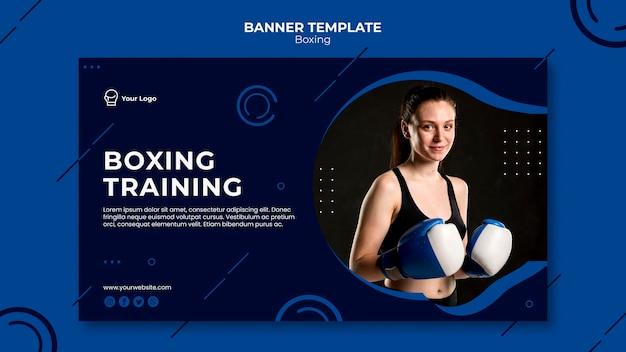 Modello web di banner di formazione di boxe