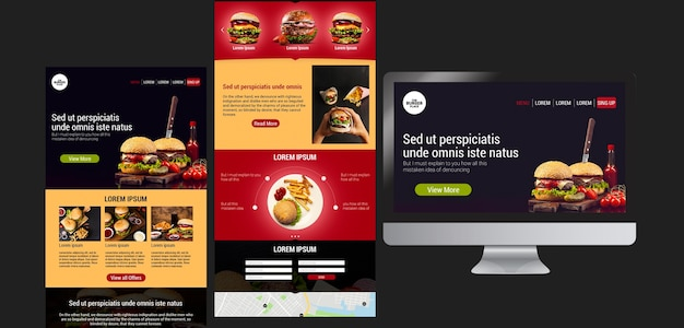 Modello web per ristorante di hamburger