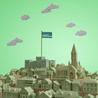 Modelo 3d del día mundial de las ciudades con maqueta