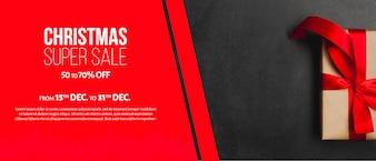 Modelo de banner de vendas de Natal criativo