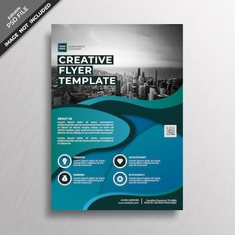 Modelo de folheto de estilo abstrato gradiente azul criativo