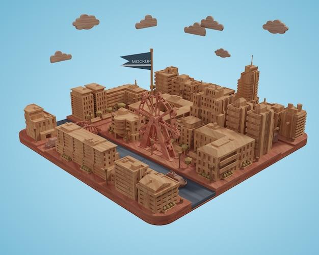 Modelo de miniaturas de ciudades sobre mesa