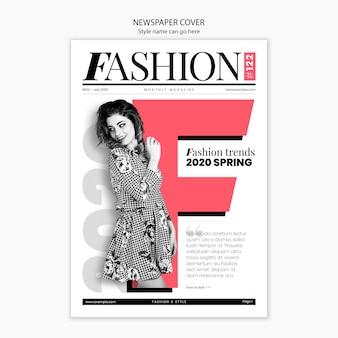 Modelo de moda en portada de periódico