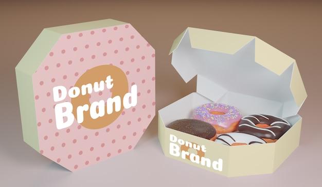 Modelo de renderizado 3d de producto de donut de paquete para diseño de maqueta de producto.
