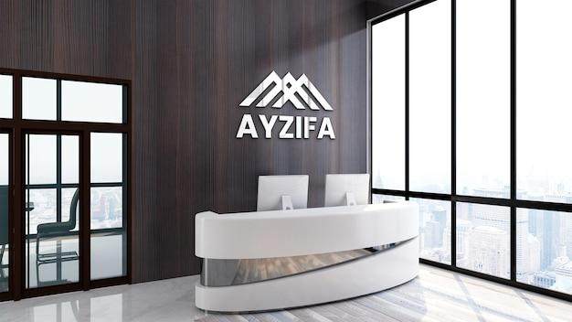 Modern 3d logo mockup kantoor in houten muur