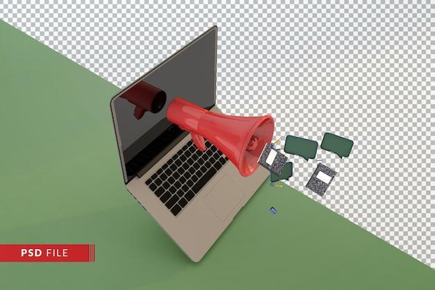 Modern 3d terug naar schoolconcept met rode megafooncomputer en studententoebehoren