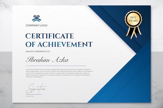 Modern blauw en goud certificaat van prestatie sjabloon