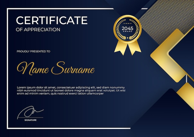 Modern blauw goud certificaat van waardering sjabloon pak voor zakelijke bedrijfseducatie met prijzen
