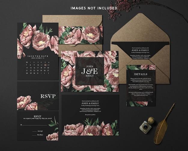 Modern branding identity mockup tema rosso e nero