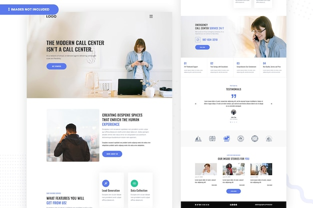 Modern callcenter website pagina-ontwerp