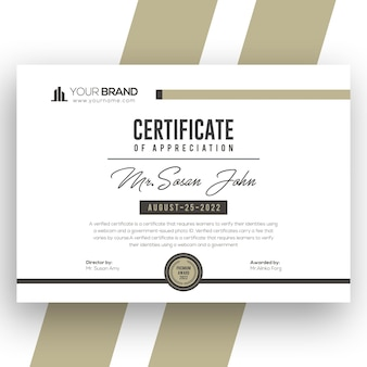 Modern certificaat van prestatie-sjabloon