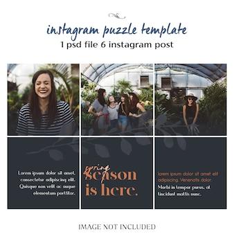 Modern, creatief en stijlvol instagram puzzel, raster, collage sjabloon