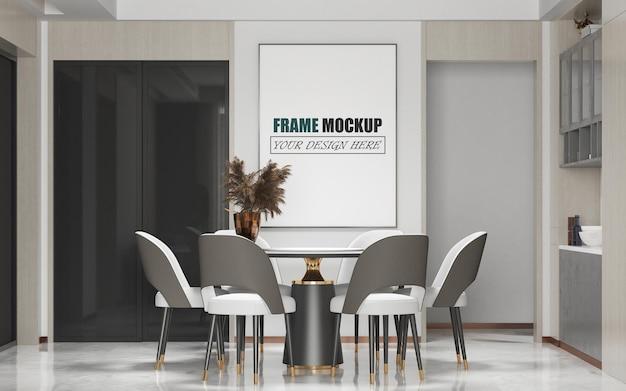 Modern decoratief frame mockup voor eetkamer