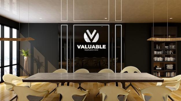 Modern design vergaderruimte zwarte muur logo mockup