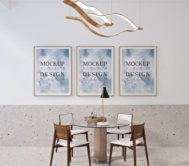 Modern eigentijds eetkamerontwerp met mockup-posterframe
