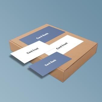 Modern en minimaal visitekaartje op doos