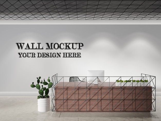 Modern front desk wall mock up.